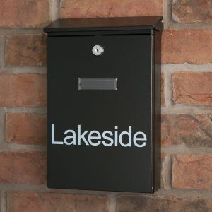 Saturn Black Letterbox personalised with your address