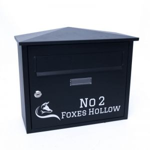 Belfast Black Letterbox personalised with your address